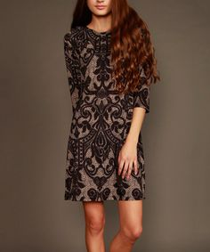 Look at this #zulilyfind! Lbisse Black Damask Shift Dress by Lbisse #zulilyfinds