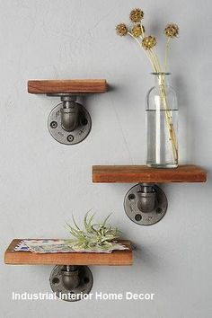 Best 33 DIY Wall Decor Built with Industrial Design Modern Shelving, Rustic Shelves, Wood Shelves, Glass Shelves, Open Shelves, Small Apartment Furniture, Ikea Furniture, Wooden Furniture, Furniture Ideas