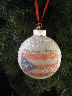 Puerto Rico Flag glass glitter ornament by sewpeg91 on Etsy, $5.00