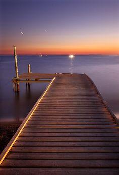 'Strange lights in the distance' by Hercules Milas Still Of The Night, Scarf Shirt, Blue Hour, Dress Shirts For Women, Long Exposure, Sunrises, Hercules, Travel Mug, Islands
