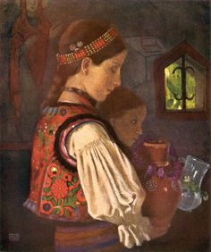 Marianne Stokes (nee Preindlsberger) (Austrian, Rumanian Children bringing Water to be Blessed in the Greek Church, Desze, 1909 Tempera, Austria, Pop Art, Art Nouveau, Blessed, Orthodox Christianity, Pre Raphaelite, Madonna And Child, Catholic Art