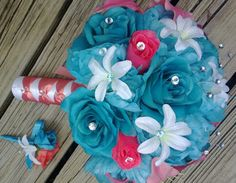 This listing is made to order and Includes 2 pieces as listed Below: 1 10in Round Silk Rose Bouquet Malibu Blue(Turquoise) Roses & Silk Coral Pink Rose Buds, Real Touch Light Coral Pink Asiatic Lilies