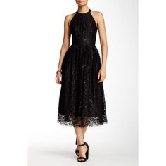 Shoshanna Midnight Alegria Lace Flare Dress ($230) ❤ liked on Polyvore featuring dresses, jet, halter dress, midi dress, shoshanna dresses, flare dress and flared dresses
