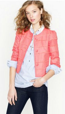 cropped frayed jacket in neon