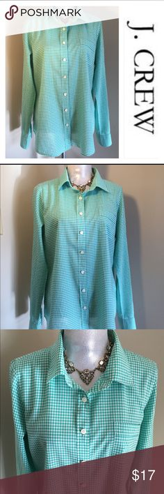 "J. Crew The Perfect Shirt Teal Gingham Check SZ L Very nice light weight Button Down Shirt. Great for layering. Pretty real color. Marked size large. Underarm to underarm measures 22.5"" inches. From back of neck to hem is 28"" inches. Sleeve length 26.5"" inches long. Worn about 10 times. J. Crew Tops Button Down Shirts"