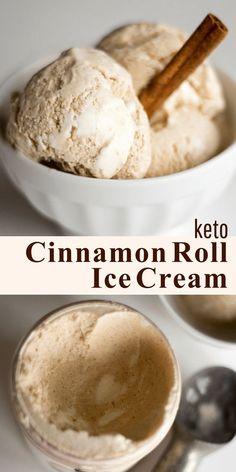 Keto Cinnamon Roll Ice Cream - Low Carb, Sugar-Free, THM S - With a Cream Cheese Icing Swirl this tastes just like a frozen Cinnabon. This ice cream is sweet, creamy, with the spice of cinnamon and a ribbon of fluffy cream cheese icing running through it. I bet it would be amazing on top of a warm slice of pecan pie.