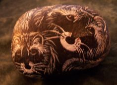 Raccoons Mother & Baby  Wildlife Stone Art Painting Acrylic     Paperweight