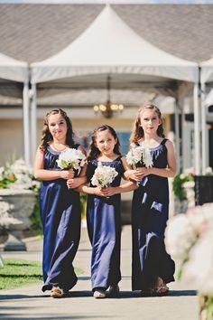 Junior bridesmaids  Bouquets: hobby lobby floral Dresses: David's Bridal