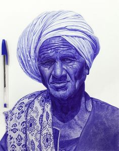 Drawing Man Mostafa Khodeir Pen Drawing - Explore over 20 examples of astounding photorealistic portraits that are examples of incredible ballpoint pen art from masters of pen drawing. Biro Art, Ballpoint Pen Art, Ballpoint Pen Drawing, Ink Pen Drawings, Realistic Drawings, L'art Du Portrait, Portrait Sketches, Portraits, Stylo Art
