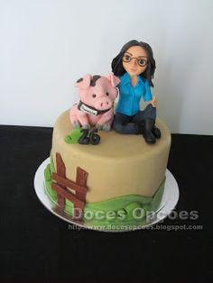 Doces Opções: A porca da Patricia Decoration, Birthday Cake, Desserts, Design, Food Cakes, Agriculture, Dekoration, Tailgate Desserts, Birthday Cakes