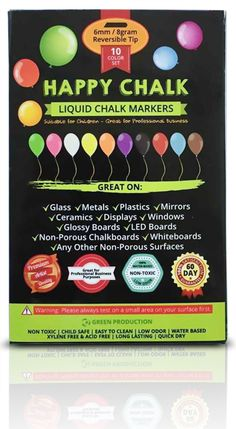 Amazon.com: Chalk Markers - 10 set of Skin Safe, Dustless & Non Toxic - Perfect for Your Kids Arts Crafts. Beautiful Vibrant Neon Colors - Perfect for Professional Business Purposes like Bistro Boards and Menus. Ideal On Glass, Metals and Any Non-Porous Surfaces: Toys & Games