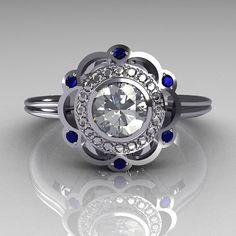 Cartier style diamond  sapphire ring