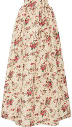 Miu Miu - Floral-print Silk-faille Maxi Skirt - Cream