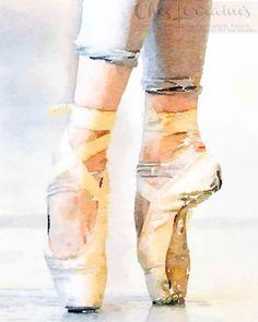 En Pointe: A Ballet Dance Watercolor Fine Art by ChezLorraines-- ballerina party gift room decor