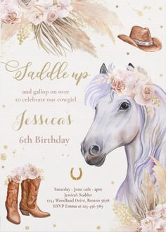 7th Birthday Party For Girls Themes, Horse Theme Birthday Party, Cowgirl Birthday Invitations, Country Birthday Party, 8th Birthday, Birthday Ideas, Horse Party Decorations, Cowgirl Party, Pony Party