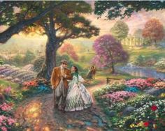 Thomas Kinkade Gone With The Wind art painting for sale; Shop your favorite Thomas Kinkade Gone With The Wind painting on canvas or frame at discount price. Thomas Kinkade Disney, Thomas Kinkade Art, Disney Kunst, Disney Art, Disney Collage, Kinkade Paintings, Oil Paintings, Easter Paintings, Landscape Paintings