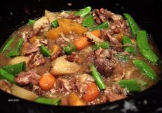 I loved this stew! I did not add peas and instead of water I used organic free-range chicken broth. Plus I used grass-fed lamb and organic veg. Fall Soup Recipes, Lamb Recipes, Slow Cooker Recipes, Crockpot Recipes, Cooking Recipes, Healthy Recipes, Oxtail Recipes, Crockpot Lamb, Lamb Stew Slow Cooker