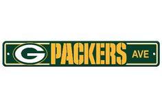 The Green Bay Packers Fan Cave Street Sign - Packers Ave Packers Team, Green Bay Packers Fans, Nfl Green Bay, Football Team, Packers Funny, Football Stuff, Football Baby, Football Season, Nfl Arizona Cardinals