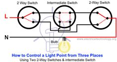 How to Control a light point from three different places by using two 2 way switches and intermediate switch Electrical Installation, Electrical Wiring, Electrical Engineering, Electronics Basics, Electronics Projects, Domestic Wiring, Digital Ammeter, Three Way Switch, Engineering Projects