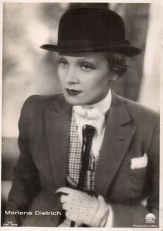 Marlene Dietrich in a suit