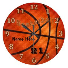 Basketball Clocks with Name and Jersey NUMBER.  Great for Basketball Themed Bedrooms for Boys and Girls. Many of the Basketball Gifts can be Personalized. Lots more Custom and Personalized Basketball Gifts for Girls, Boys, Men and Women CLICK HERE: http://www.zazzle.com/littlelindapinda/gifts?cg=196808750908670951&rf=238147997806552929*/ ALL of Little Linda Pinda Designs CLICK HERE: http://www.Zazzle.com/LittleLindaPinda*/