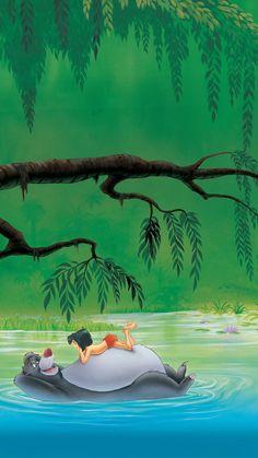 The Jungle Book 1967 Poster Book Wallpaper, Disney Phone Wallpaper, Watercolor Wallpaper, Wallpaper Jungle, Disney Collage, Disney Art, Movie Wallpapers, Cute Cartoon Wallpapers, Mogli Jungle Book