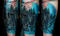Blue Ink Masculine Guys Forest Arm Tattoos