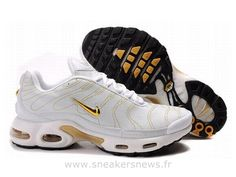Chaussures de Nike Air Max Tn Requin Homme  Blanc et Or Tn 2015