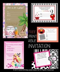 free printable birthday invitations - Birthday Party Ideas