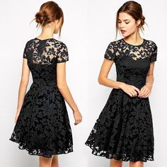 Lace flower hollow out dress with knee length and a-line silhouette is unique to wear to party. This dress with Blue, Black and Red color and S, M, L, XL for you choose. Size:S, M, L, XL Bust: S:61-66
