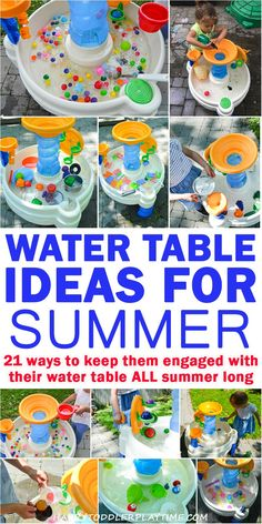 21 Amazing Water Table Ideas for Summer – HAPPY TODDLER PLAYTIME 21 Amazing Water Table Ideas to keep your toddler (or preschooler!) entertained and engaged with their water table all summer long! Summer Activities for Kids Toddler Learning Activities, Summer Activities For Kids, Sensory Activities, Infant Activities, Summer Kids, Sensory Play, Outdoor Toddler Activities, Summer Games, Toddler Activity Table