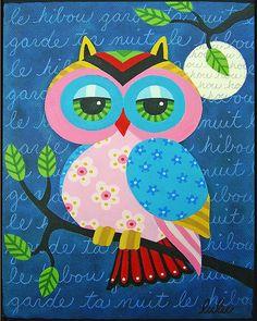 'Full Moon Owl on a Branch' by LuLu Mypinkturtle