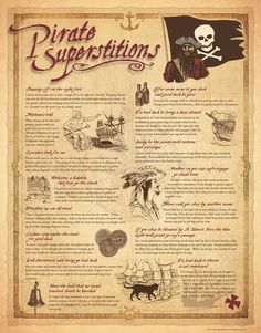 Pirate Superstitions Print An exciting new print from Sealake Products featuring 15 historically accurate pirate superstitions. Contains beautiful hand-drawn pen and ink drawings that portray select superstitions. Printed on qu Pirate Art, Pirate Life, Pirate Theme, Pirate Ships, Pirate Crafts, Pirate Birthday, Pirate Food, Decoration Pirate, Pirate History