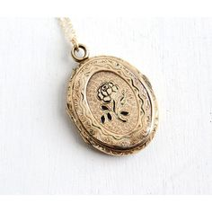 Antique Victorian Rose Locket Necklace Late 1800s Monogrammed Black... ($95) ❤️ liked on Polyvore featuring jewelry, pendants, charm pendant, victorian pendant, oval locket, rose pendant and oval pendant