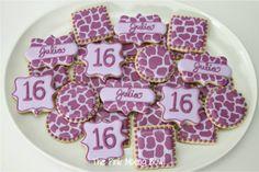 Sweet 16 Purple Giraffe Print cookies by The Pink Mixing Bowl!