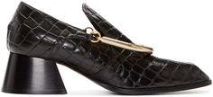 Stella McCartney Black Croc-Embossed Loafers
