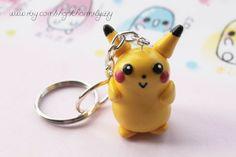 Kawaii Pikachu Pokemon Polymer Clay Charm Keychain by CharmsByIzzy, $6.45