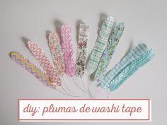 diy: plumas de washi tape
