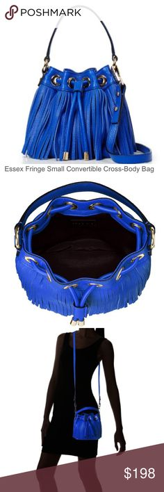 "Final price! NWT MILLY crossbody Essex drawstring New French blue leather MILLY Essex fringe small drawstring convertible crossbody bag.  Top handle 4"" drop.  Detachable crossbody strap 23"" drop.  Drawstring closure . Lined.  Interior slip pocket.  9x3x7 Milly Bags Crossbody Bags"