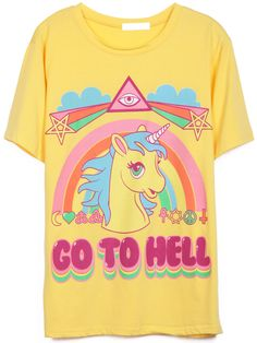 Yellow Short Sleeve Rainbow Horse Print T-Shirt (nicest way to say it to someone) :)