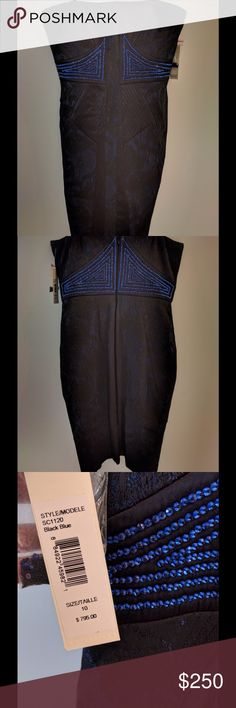 """Badgley Mischka strapless stretch jacquard dress Brand new with tags. Black and navy stretch jacquard with silk inserts and a beaded waist insert. 24"""" skirt length from waist Badgley Mischka Dresses Strapless"""