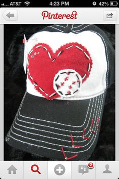 DIY baseball hat. I don't know that mine would look this cute but I love this!
