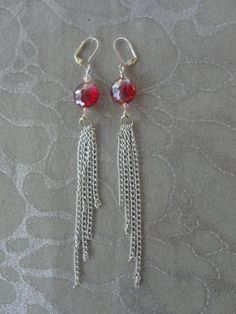 Chain Earrings - Multiple Silver Chains in Asymmetrical Lengths with Ruby Red real Swarovski Crystals by MEDICINAdesigns, $49.99