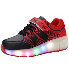 VMATEPU Black Kids Boys Girls Shoes LED Light Up Sneakers Single Wheel Roller Skate Shoes * You can get more details by clicking on the image. Note: It's an affiliate link to Amazon