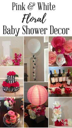 Pink and White Floral Baby Shower Decor Unique Baby Shower, Floral Baby Shower, Shower Party, Baby Shower Parties, Baby Showers, Diy Party Decorations, Baby Shower Decorations, Creative Party Ideas, Baby Decor