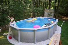 Sensational Kids Area With Above Ground Pools With Decks In Grey Color Design Used Minimalist Shaped With Green Landscaping Ideas