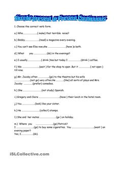 Present Continuous or Simple - worksheet - kindergarten level