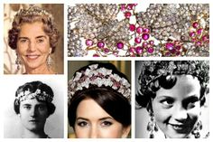 A Tiara a Day: The Danish Ruby Parure Tiara-made of rubies and diamonds; with some of its wearers starting (bottom left clockwise) with Queen Alexandrine, Queen Ingrid, Princess Benedikte (who wore it for a play as a child) and its current owner, Crown Princess Mary of Denmark; both Ingrid and Mary have altered the tiara from the original