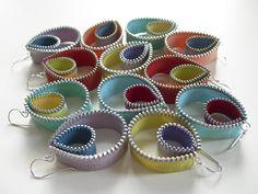 cool zipper art | zipper earrings zipper slides and button necklace bracelet zipper cuff