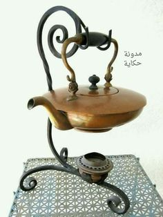 Antique Copper Tea Kettle Teapot - Wrought Iron Stand - Tea Pot Warmer - Metalware Aged Patina Vintage Character >>> I want one!